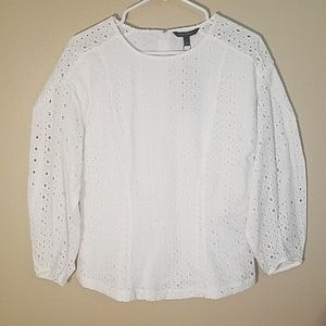 Banana Republic white eyelet lace blouse